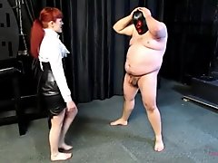 Ballbusting the fat guy