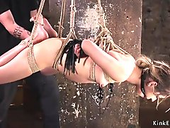 Babe in extreme rop bondage ass caned