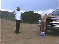 Big Tit Milf Tied to Truck and Whippped